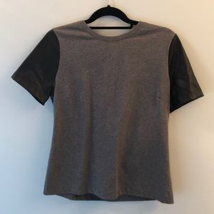JCrew Grey and Leather Top